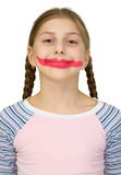 Girl with clown smile Royalty Free Stock Photos