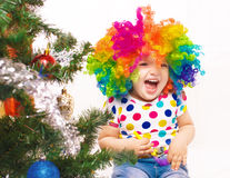 Girl in clown wig Royalty Free Stock Image