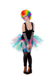 Girl in clown wig isolated on white Royalty Free Stock Photography