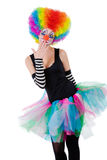 Girl in clown wig isolated on white Royalty Free Stock Image