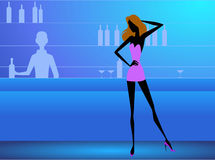 Girl in the club stock illustration