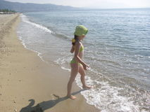 Girl at the coast stock photography