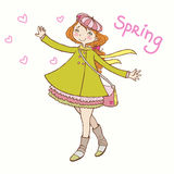 Girl in a coat rejoices spring Stock Photo