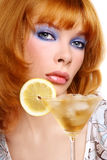 Girl with cocktail Stock Images