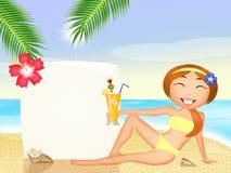 Girl with cocktail on the beach. Illustration of girl with cocktail on the beach Royalty Free Stock Photos