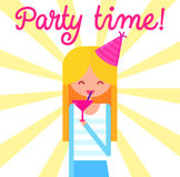 Girl with cocktail glass and party hat at yellow. Happy girl with cocktail glass and party hat at yellow background. Flat vector illustration Royalty Free Stock Image