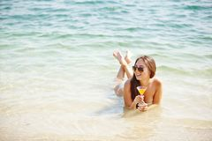 Girl with cocktail Stock Image