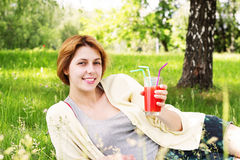 Girl and a cocktail Royalty Free Stock Photos