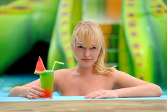 Girl with a cocktail Royalty Free Stock Photos