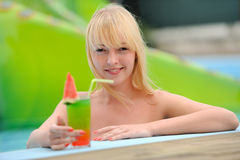 Girl with a cocktail Royalty Free Stock Photo