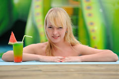 Girl with a cocktail Royalty Free Stock Image