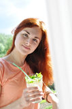 Girl with cocktail Royalty Free Stock Images