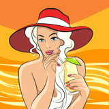 Girl with Cocktail retro illustration. Beautiful blondie girl in beach hat drinks cocktail. Illustration in retro style Royalty Free Stock Images
