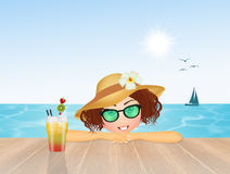 Girl with cocktail in summer Stock Photo