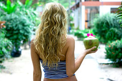 Girl with coconut royalty free stock photos