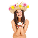 Girl with coconut Royalty Free Stock Images