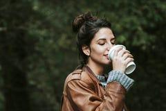 Girl coffe drink Stock Image