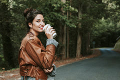 Girl coffe drink Stock Photography