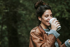 Girl coffe drink Royalty Free Stock Photography
