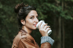 Girl coffe drink Royalty Free Stock Photos