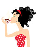 Girl and coffee royalty free illustration