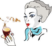 Girl with coffee. Girl with cup of coffee in blue scarf Stock Image