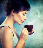 Girl With Coffee. Beautiful Girl With Cup of Coffee