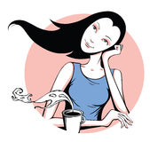 Girl with coffee. Young beautiful girl drinking coffee in the morning Royalty Free Stock Photo