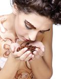 Girl with coffee beans Stock Photo