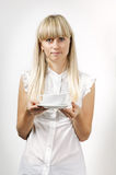 Girl with coffee cup Stock Photography