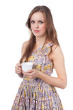 Girl with a coffee cup Stock Photos