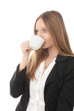 Girl with a coffee cup Royalty Free Stock Photo