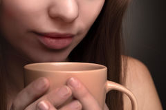 Girl with coffee cup Royalty Free Stock Photos
