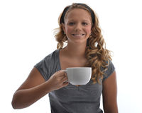 Girl with coffee cup Royalty Free Stock Image