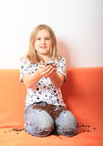 Girl with coffee grains Royalty Free Stock Photos