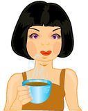 Girl with coffee Stock Images