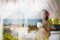 Girl and coffee in the morning Stock Image