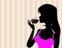 Girl with coffee vector Stock Photography