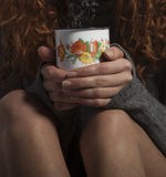 Girl with a coffee Stock Image