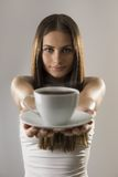 Girl and coffee Royalty Free Stock Photography