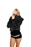 Girl coffering with jacket. Stock Photo