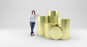 Girl with coins stock illustration