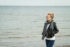 Girl cold sea Stock Photography