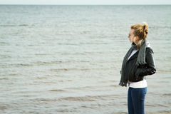 Girl cold sea Royalty Free Stock Photo