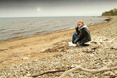 Girl cold sea Royalty Free Stock Photography