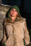 Girl in cold winter. Pretty tanned girl in cold winter Royalty Free Stock Photo