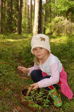The girl collecting berries. The girl in the forest, collecting berries in a basket royalty free stock photos