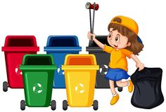 Girl Collecting Trash and Cleaning. Illustration Royalty Free Stock Photo