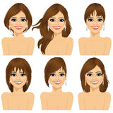 Girl with collection of different hairstyles Royalty Free Stock Photos