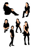 Girl collection. Vector isolated silhouette teen girl collection Royalty Free Stock Photo